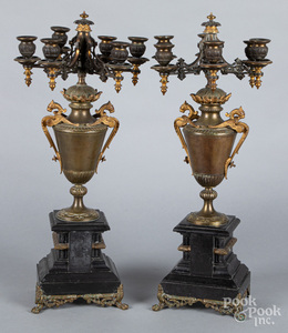 Pair of gilt metal and slate candelabra
