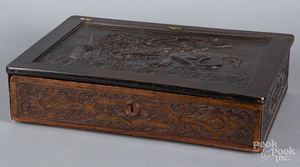 English carved mahogany Bible box, late 19th c.