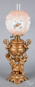 Bradley & Hubbard gilt metal lamp