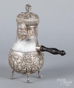 Dutch repousse silver chocolate pot, 19th c.
