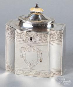 English silver tea caddy, 1796-1797