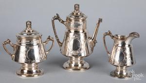 English sterling silver three-piece tea service