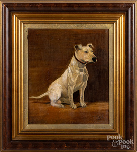 English oil on canvas portrait of a terrier