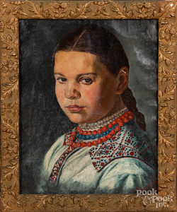 Oil on canvas portrait of a girl