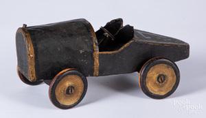 Folk art painted tin and wood open wheel race car
