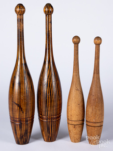 Two pairs of Indian clubs, early 20th c.