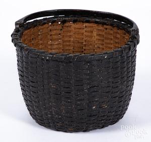 Painted split oak basket, late 19th c.