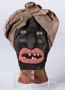 Folk art Black Americana fabric pot holder