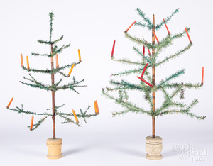Two German feather trees, with candles