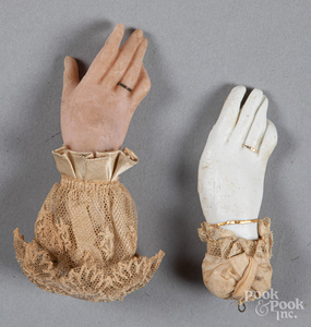 Two wax hand and lace Christmas ornaments