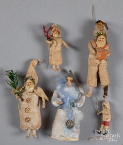 Four spun cotton Santa Christmas ornaments