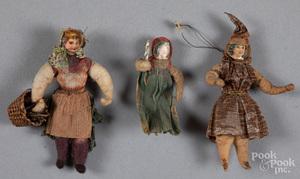 Three spun cotton Christmas ornaments