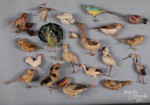 Group of spun cotton bird Christmas ornaments