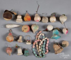 Group of spun cotton Christmas ornaments