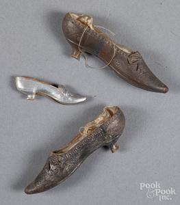 Three Dresden shoe Christmas ornaments