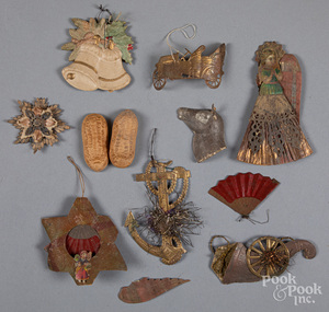 Group of Dresden Christmas ornaments