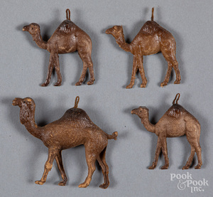 Four Dresden camel Christmas ornaments