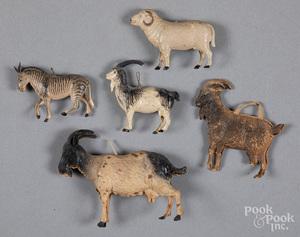Five Dresden animal Christmas ornaments