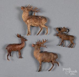 Four Dresden deer Christmas ornaments