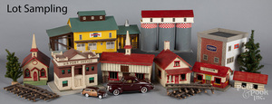 Large group of wood train layout buildings