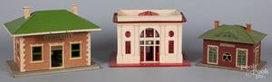 Three Lionel tin train stations