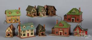 Nine Lionel tin houses