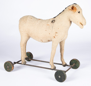 Three Steiff mohair ride-on toys