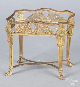 Cast brass dollhouse potting table