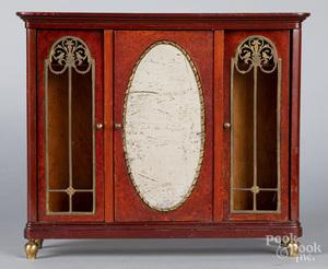 Doll size mahogany and birds-eye maple wardrobe