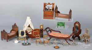 Miscellaneous wooden dollhouse furniture