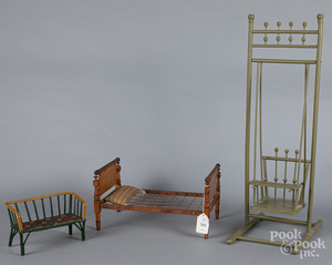 Maple doll rope bed, etc.