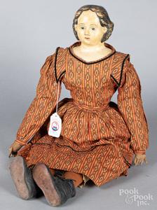 Greiner papier mache shoulder head doll