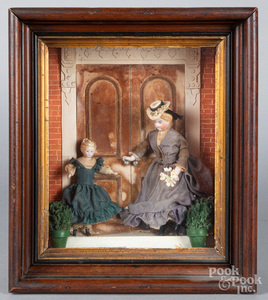Bisque doll diorama, late 19th c.