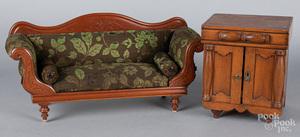 Carved walnut doll sofa