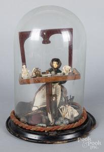 German painted wood peddler doll, 19th c.