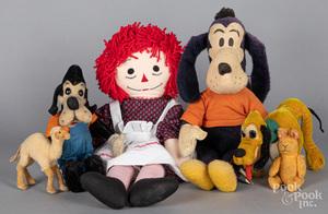 Five plush animals