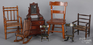 Seven pieces of doll furniture, 19th/20th c.