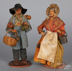 Pair of redware peddlers