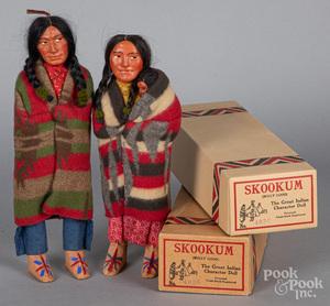 Two composition Skookum Indian dolls