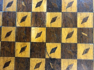 Parquetry checkers and cribbage gameboard