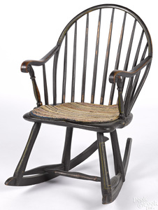 Pennsylvania bowback Windsor rocking armchair