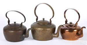Three Pennsylvania copper kettles