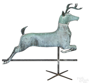 Full bodied copper leaping stag weathervane