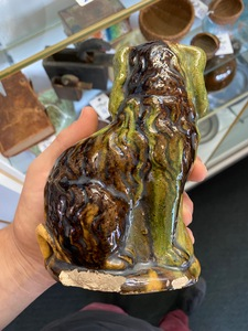 Two Pennsylvania Wagner pottery redware spaniels