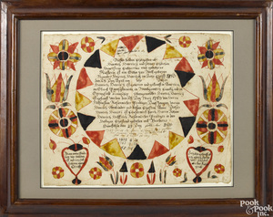 Martin Brechall ink and watercolor fraktur