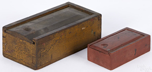 Two painted slide lid boxes