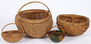 Four miniature split oak baskets