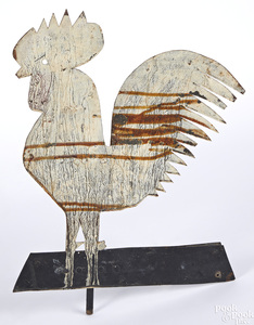 Painted zinc rooster weathervane
