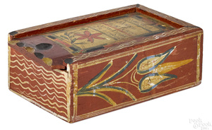 John Drissel painted pine slide lid box