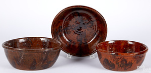 Three Pennsylvania redware mixing bowls